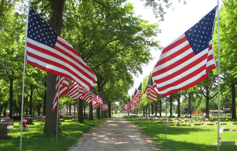 Seward Cemetery with flags on display for Memorial Day