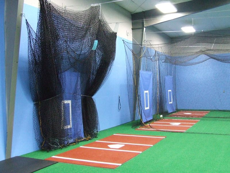 Batting areas inside of the Cattle Training Center