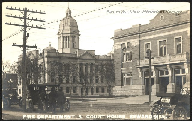 Seward County Court House and Fire Department circa 1910 - image courtesy of the Nebraska State Historical Society