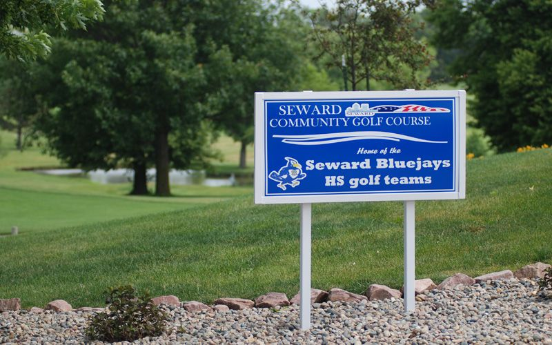Sign - Seward Community Golf Course home of the Seward Bluejays HS Golf Teams