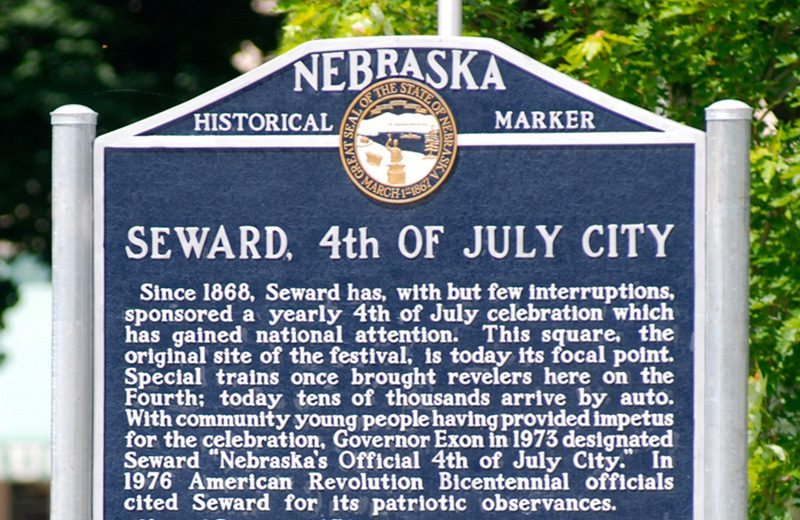 Historical marker near the courthouse in Seward, Nebraska